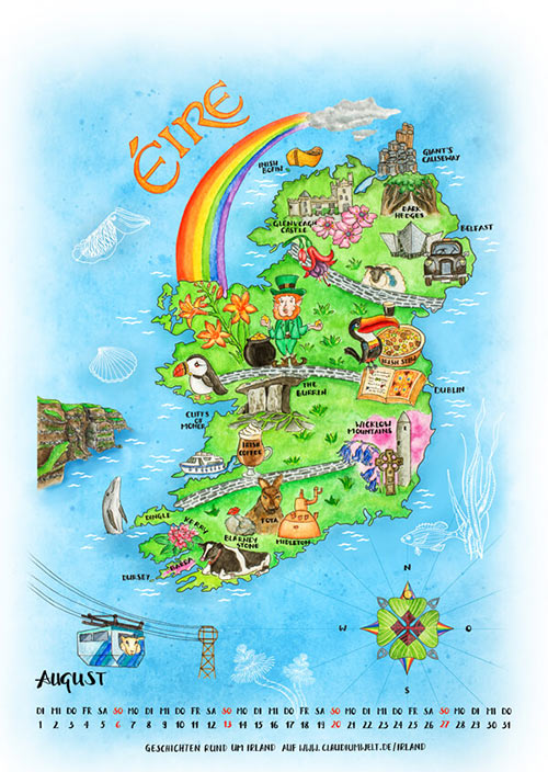 Landkarte Irland Urban Sketch Style