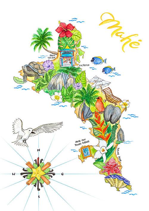 Karte Seychellen.Seychellen Insel Mahe Illustrierte Landkarte