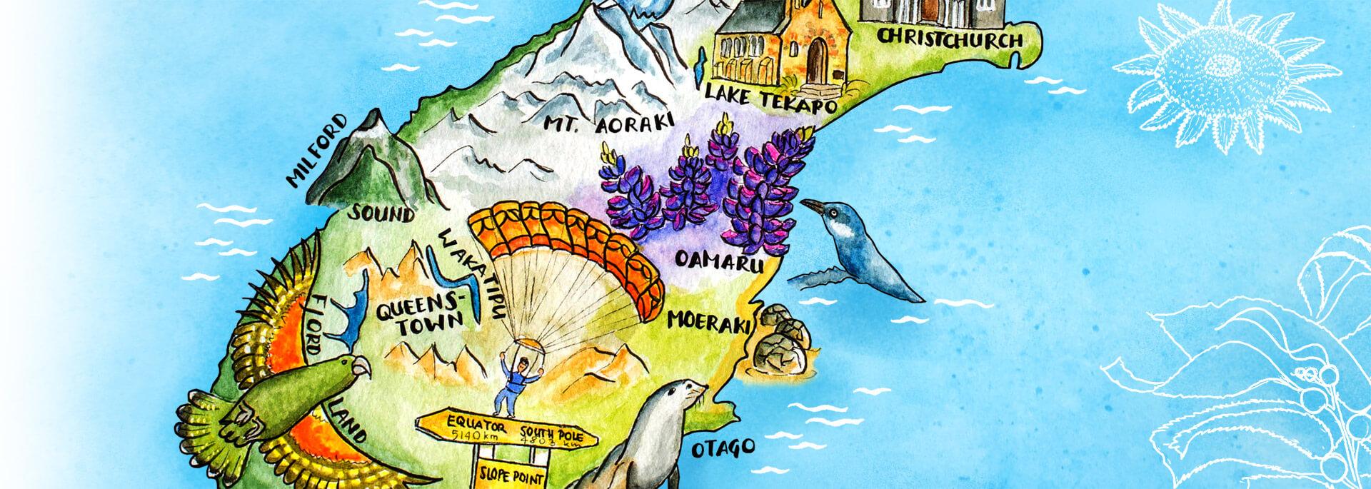 Kalender Illustrierte Inseln 2017 – Dezember:  Neuseeland Südinsel